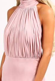 cordelia blush pink slinky halterneck maxi dress pink boutique