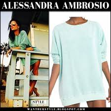 alessandra ambrosio in green sweatshirt on october 22 i want her