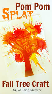 pom pom splat fall tree craft for preschoolers and process art