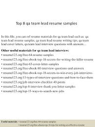 Sample Qa Resumes by Qa Team Lead Resume Contegri Com