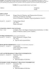 Pharmacy Intern Resume Sample Download Student Curriculum Vitae Template For Free Tidyform