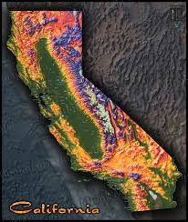 california map colorful california map topographical physical landscape