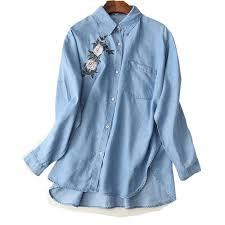 denim blouses 2017 denim blouses with flower embroidery sleeve denim