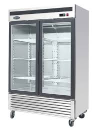 atosa mcf8707 bottom mount two section glass door refrigerator