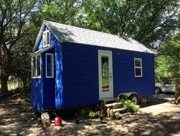 sustainabile living tiny blue house wheels sale hesston kansas