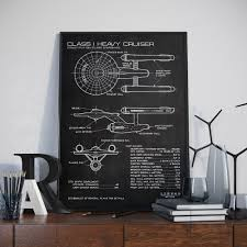 blueprints etsy star trek patent poster enterprise art