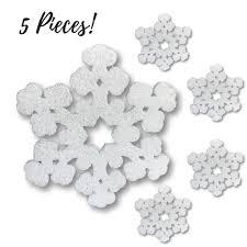 styrofoam snowflake decorations set of 5 large white glitter