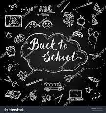 doodle presentations back school sketched icons on blackboard stock vector 466547945
