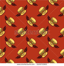comic wrapping paper seamless vector pattern flying hamburgers stock vector