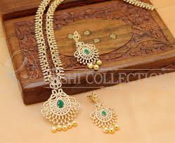 long necklace sets images Lovely cz designer green colour long necklace set american diamond jpg