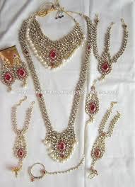 bridal pearl necklace sets images Bridal pearl choker kundan necklace earring tika panja set buy jpg