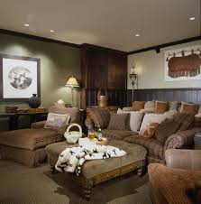 dark wainscoting home theater rustic with cozy media room brown