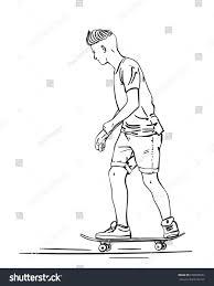 sketch skateboard hipster haircut riding on stock vector 699589657