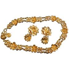 necklace golden images Vintage sonia rykiel bijoux golden flower statement necklace and jpg
