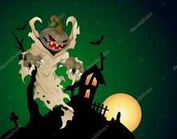 halloween haunted house background with pumpkin head ghost u2014 stock