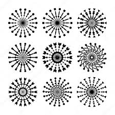 set of 9 vector circle ornaments for design decorative st
