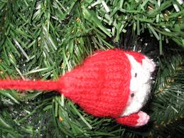 art christmas tree decoration knitted santa father christmas red
