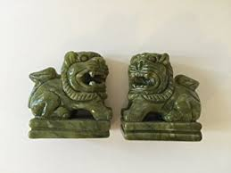 jade lion statue feng shui jade lion fu dogs statue set home kitchen