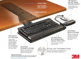 remarkable light brown wood desk with black ergonomic keyboard tray and mouse pad