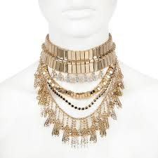 chunky chain choker necklace images Lyst river island gold tone chunky statement choker necklace in jpeg
