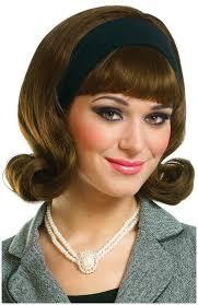 1950s headband 1950 s brown wig w detachable headband