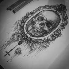 awesome tattoo design a skull with amazing frame around him