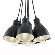 Cluster Pendant Light Eglo 49467 Priddy 1 Seven Drop Cluster Pendant Light In Black