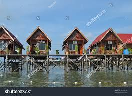 water bungalows mabul island borneo malaysia stock photo 89424166