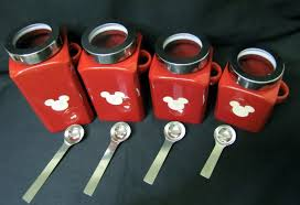 the nice red kitchen canisters