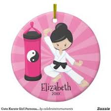 cute karate personalized christmas ornament christmas