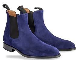 chelsea navy blue color hand made suede leather boots mens blue