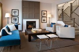 Blue Chaise Modern Fireplace Surrounds Living Room Contemporary With Blue