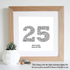 silver anniversary gifts 25th anniversary gift word printable gift 25th wedding
