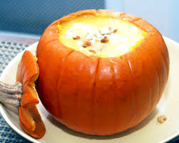 pumpkin and honey crisp apple soup with gorgonzola and toasted walnuts