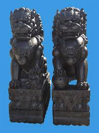 marble foo dogs dog black marble statue
