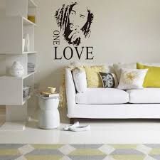 bob marley graphic one love quote music fan wall stickers for