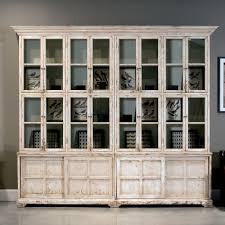 Antique White Bookcase With Doors Bookcase Cabinet Glass Doors Antique White Country Large