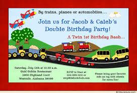 motor birthday party invitation twin trucks u0026 schoolbuses