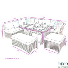 high back corner sofa dining rattan garden set natural deco alfresco