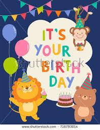 cute wildlife animals cartoon illustration birthday stock vector