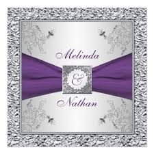 purple and silver wedding invitations printed ribbon purple silver wedding invitation ii zazzle