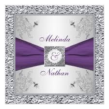 purple and silver wedding printed ribbon purple silver wedding invitation ii zazzle