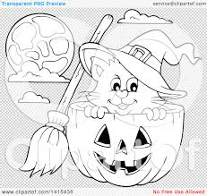 halloween black and white background clipart of a cute black and white lineart halloween witch cat in a