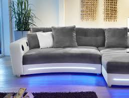 sofa grau weiãÿ multimedia sofa 322x200cm grau weiß mikrofaser hifi