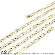 curb link chain necklace images 14k real yellow gold diamond cut 4mm cuban curb link chain jpg