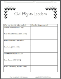 civil rights leaders table graph chart worksheet for grade 2 ccss
