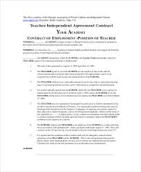 teacher agreement contract sample 9 examples in word pdf