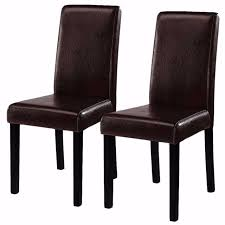 Contemporary Black Dining Chairs Goplus 2 Pieces Set Modern Dining Chairs Black Brown Leather Home