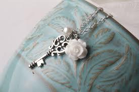 white rose necklace images Vintage key necklace bridesmaid necklace white rose necklace jpg
