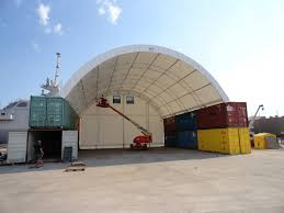 shipping container structures in natural light fabric structure